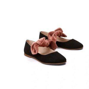 New Zara Girls Black Velvet Ballerina Flats w/ Bow